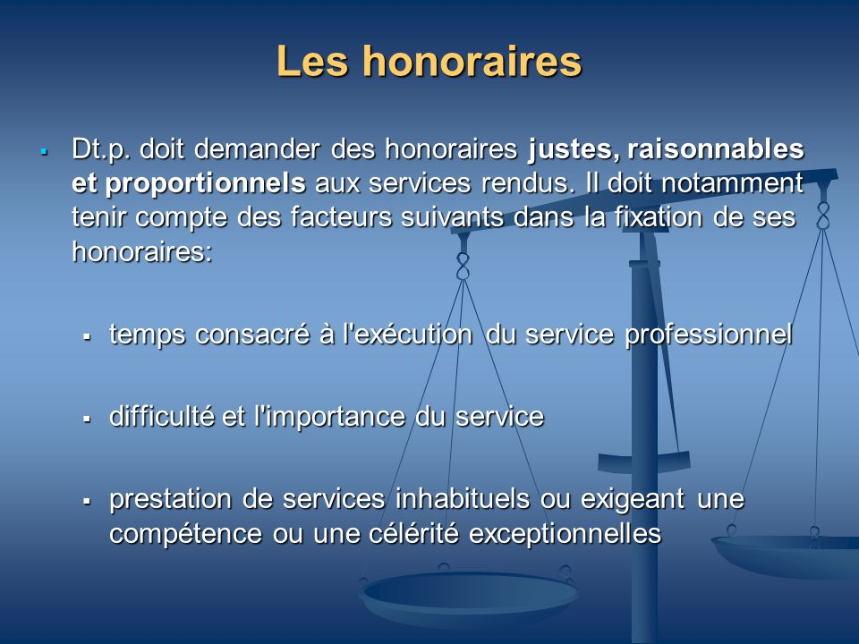 Les honoraires