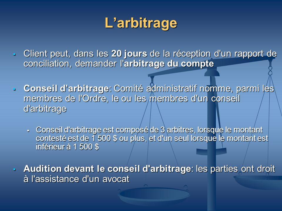 L'arbitrageClient peut, dans les 20 jours de la réception d un rapport de conciliation, demander l arbitrage du compte.