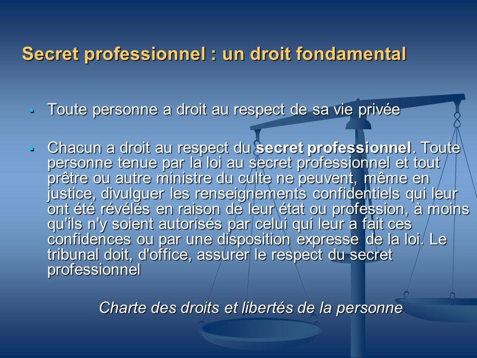 Secret professionnel : un droit fondamental