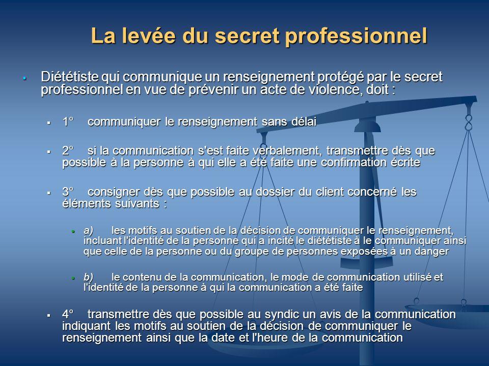La levée du secret professionnel