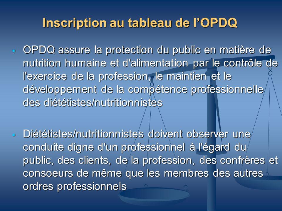 Inscription au tableau de l'OPDQ