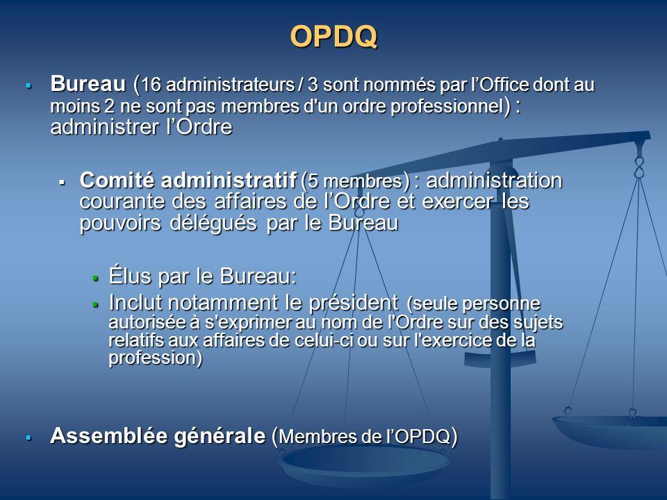 OPDQ Bureau (16 administrateurs / 3 sont nommés par l'Office dont au moins 2 ne sont pas membres d un ordre professionnel) : administrer l'Ordre.