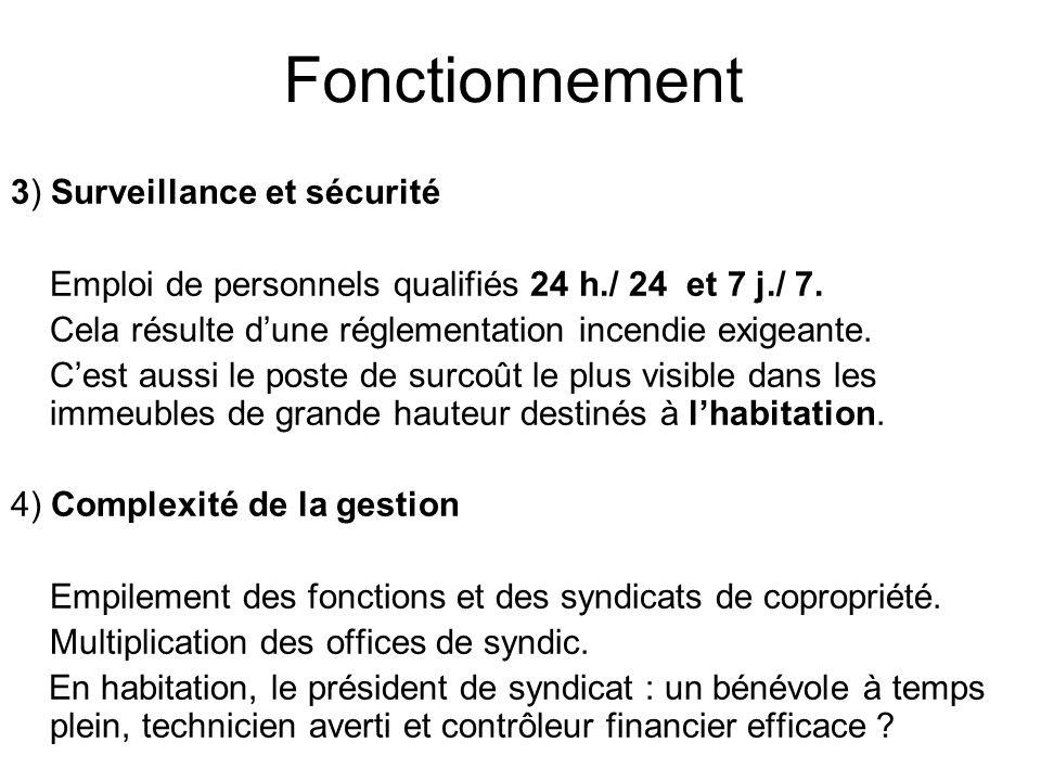 Fonctionnement 3) Surveillance et sécurité