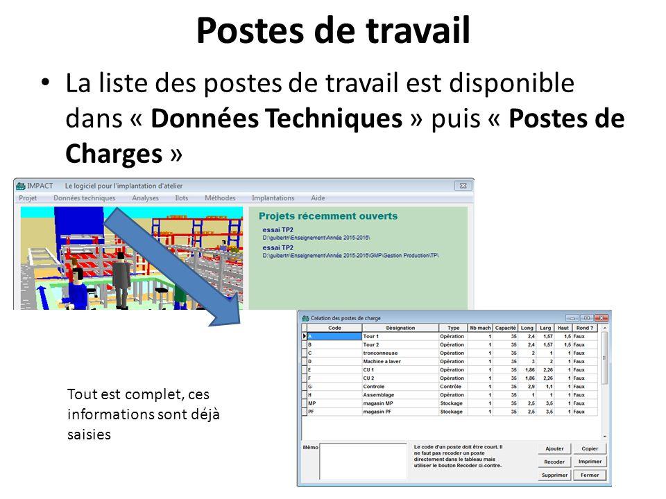 Postes de travail La liste des postes de travail est disponible dans « Données Techniques » puis « Postes de Charges »