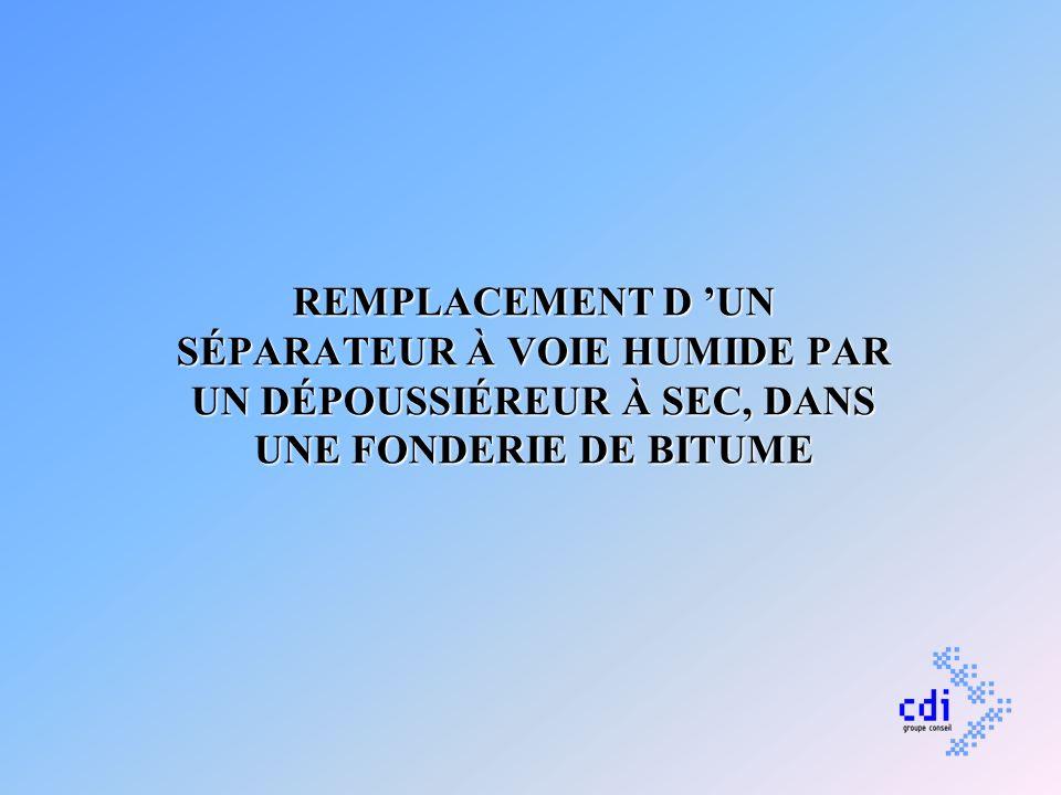 REMPLACEMENT D 'UN SÉPARATEUR À VOIE HUMIDE PAR UN DÉPOUSSIÉREUR À SEC, DANS UNE FONDERIE DE BITUME