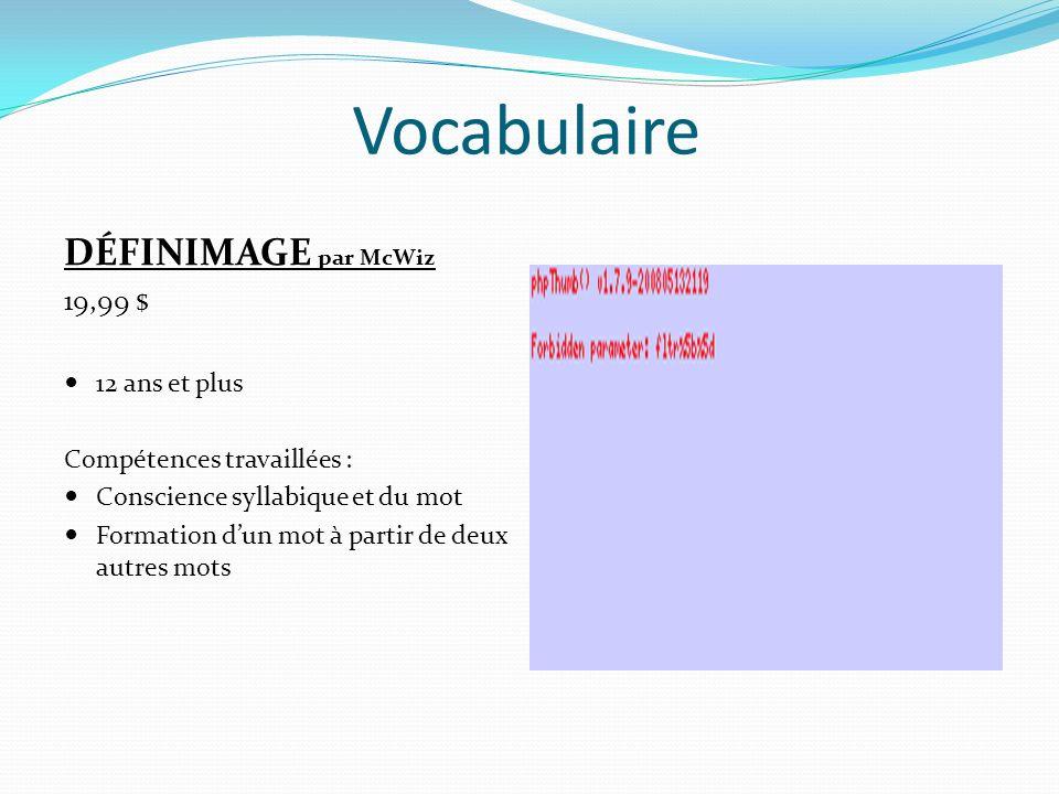 Vocabulaire DÉFINIMAGE par McWiz 19,99 $ 12 ans et plus