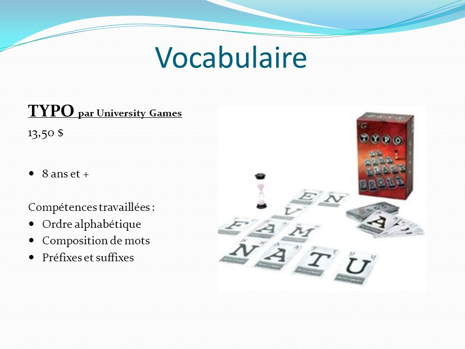 Vocabulaire TYPO par University Games 13,50 $ 8 ans et +