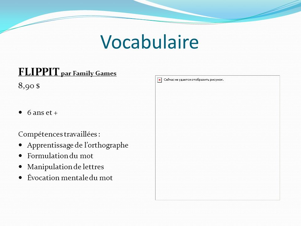 Vocabulaire FLIPPIT par Family Games 8,90 $ 6 ans et +
