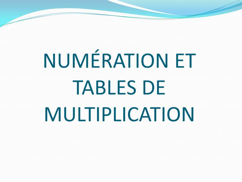 NUMÉRATION ET TABLES DE MULTIPLICATION