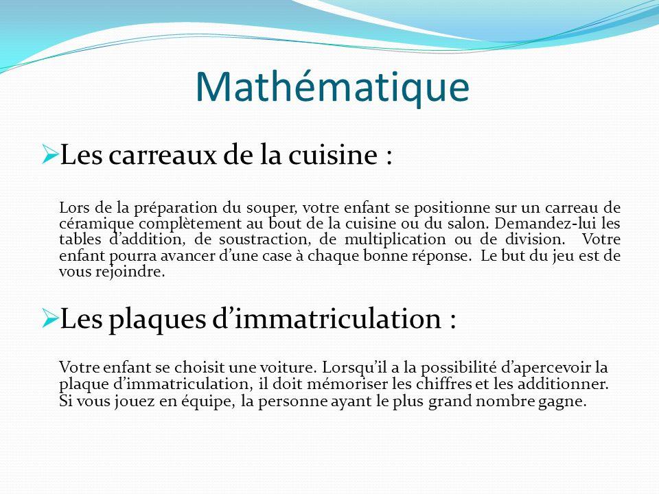 Mathématique Les carreaux de la cuisine :