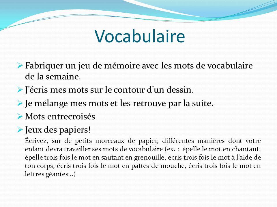 Vocabulaire Fabriquer un jeu de mémoire avec les mots de vocabulaire de la semaine. J'écris mes mots sur le contour d'un dessin.