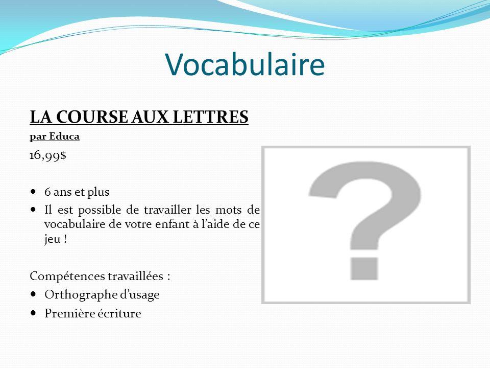 Vocabulaire LA COURSE AUX LETTRES par Educa 16,99$