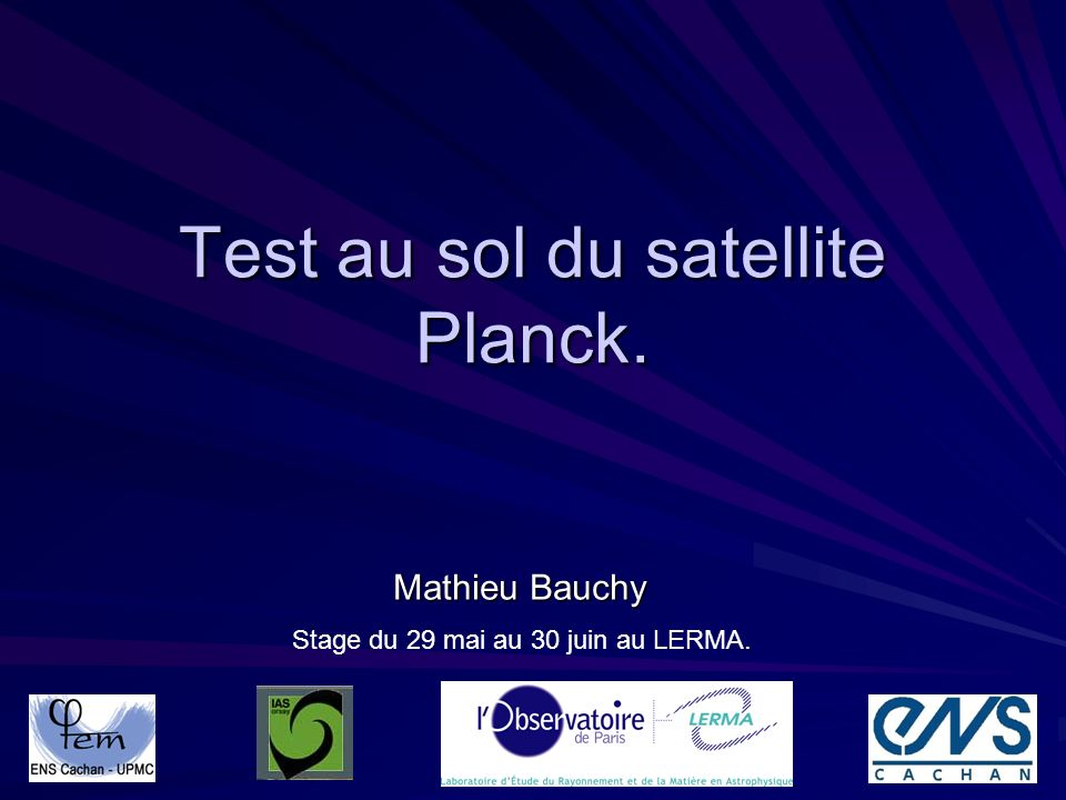 Test au sol du satellite Planck.