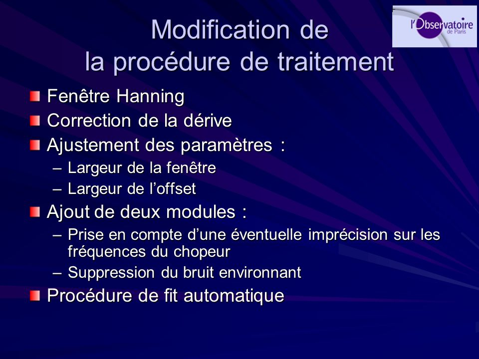 Modification de la procédure de traitement