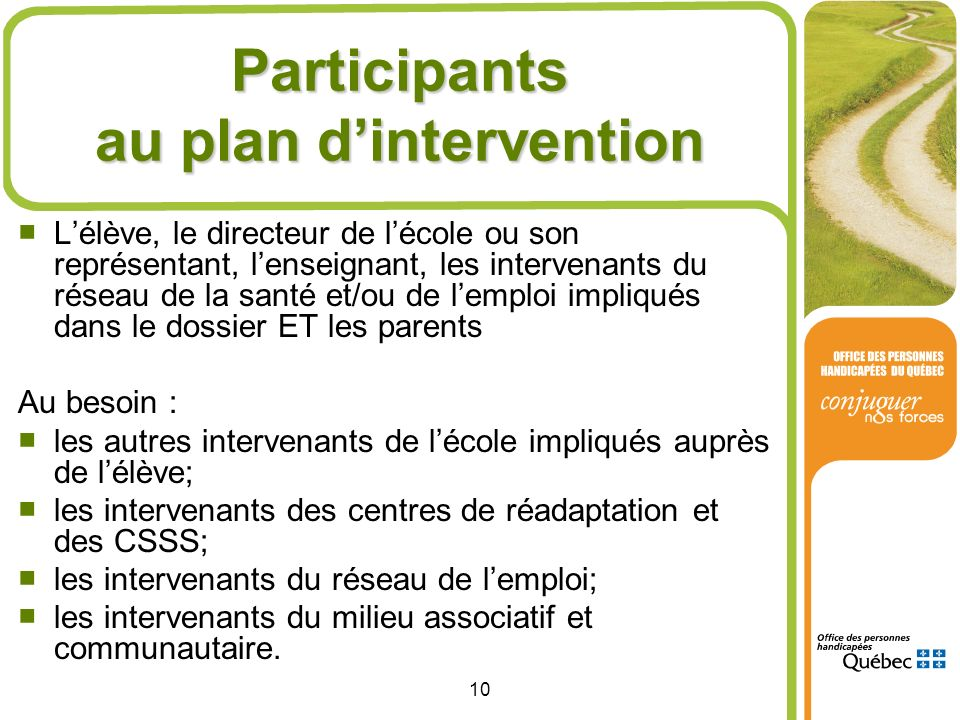 Participants au plan d'intervention