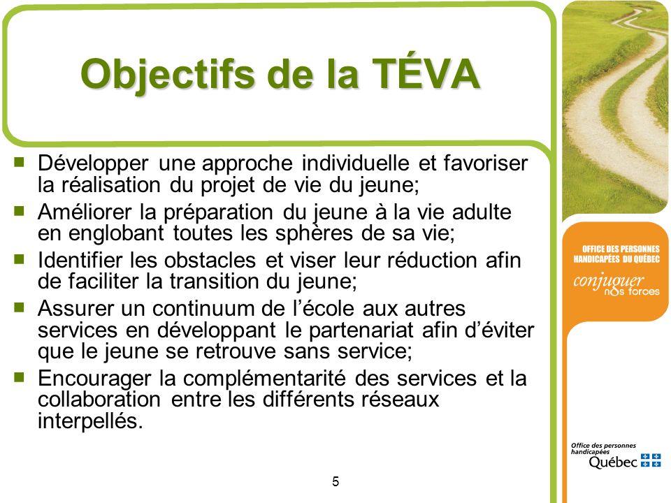 Objectifs de la TÉVA Développer une approche individuelle et favoriser la réalisation du projet de vie du jeune;