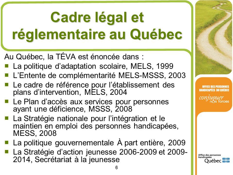 Cadre légal et réglementaire au Québec