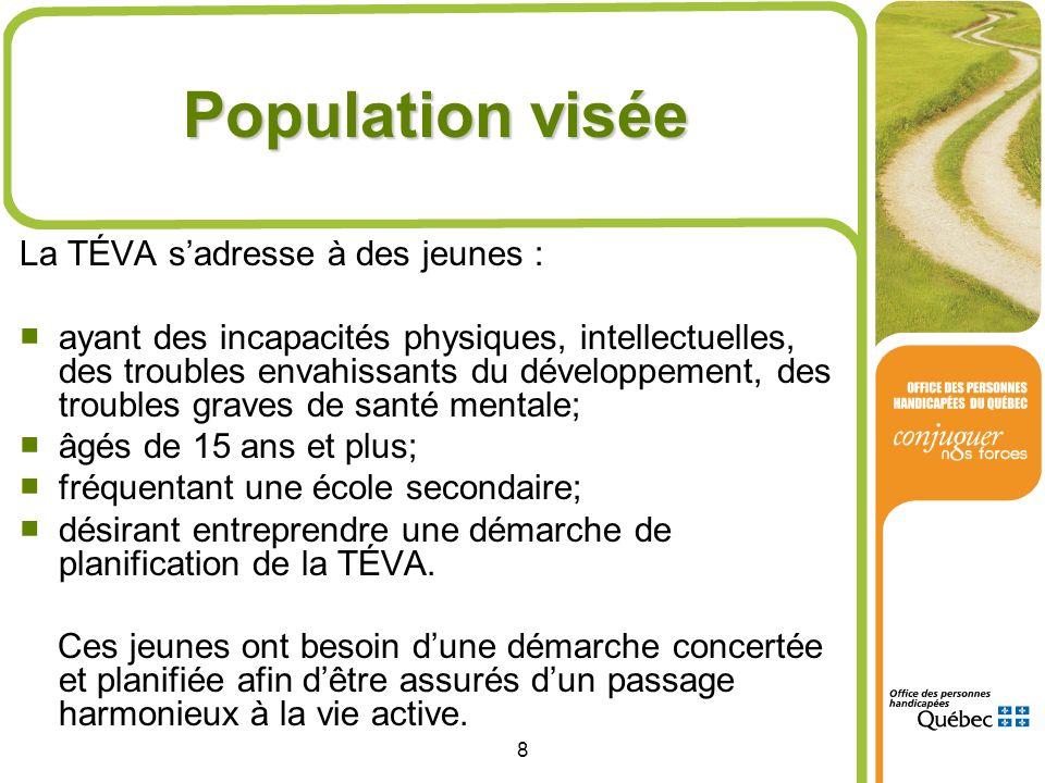 Population visée La TÉVA s'adresse à des jeunes :