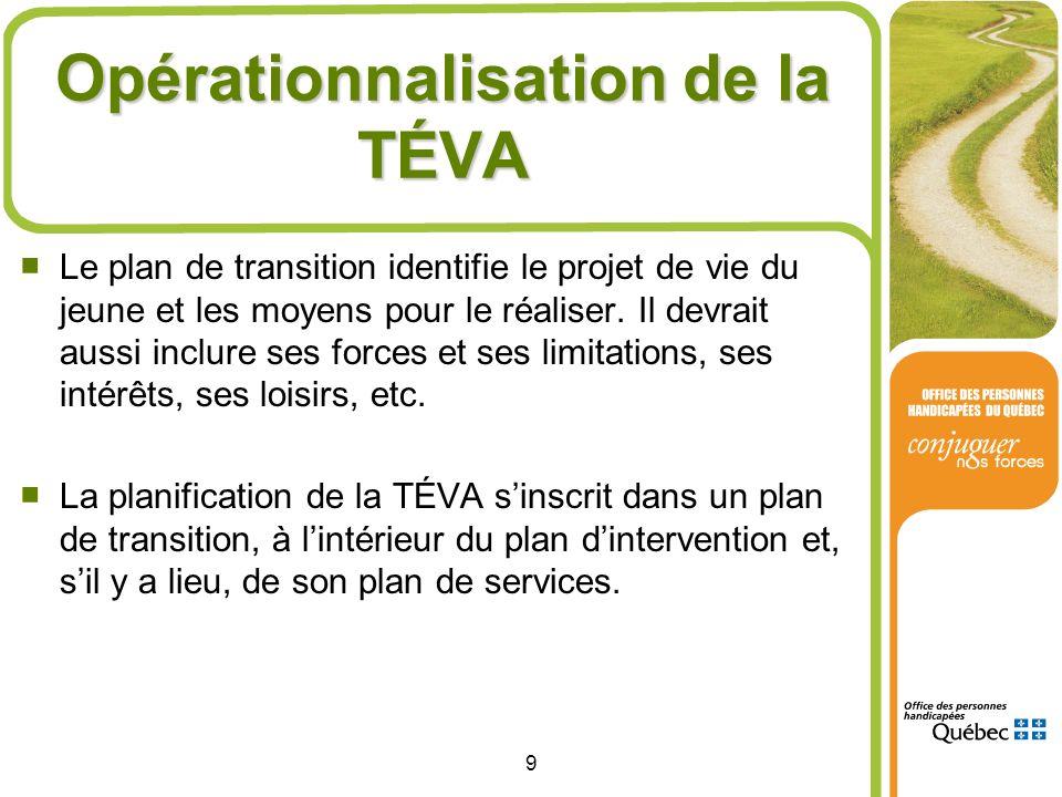 Opérationnalisation de la TÉVA