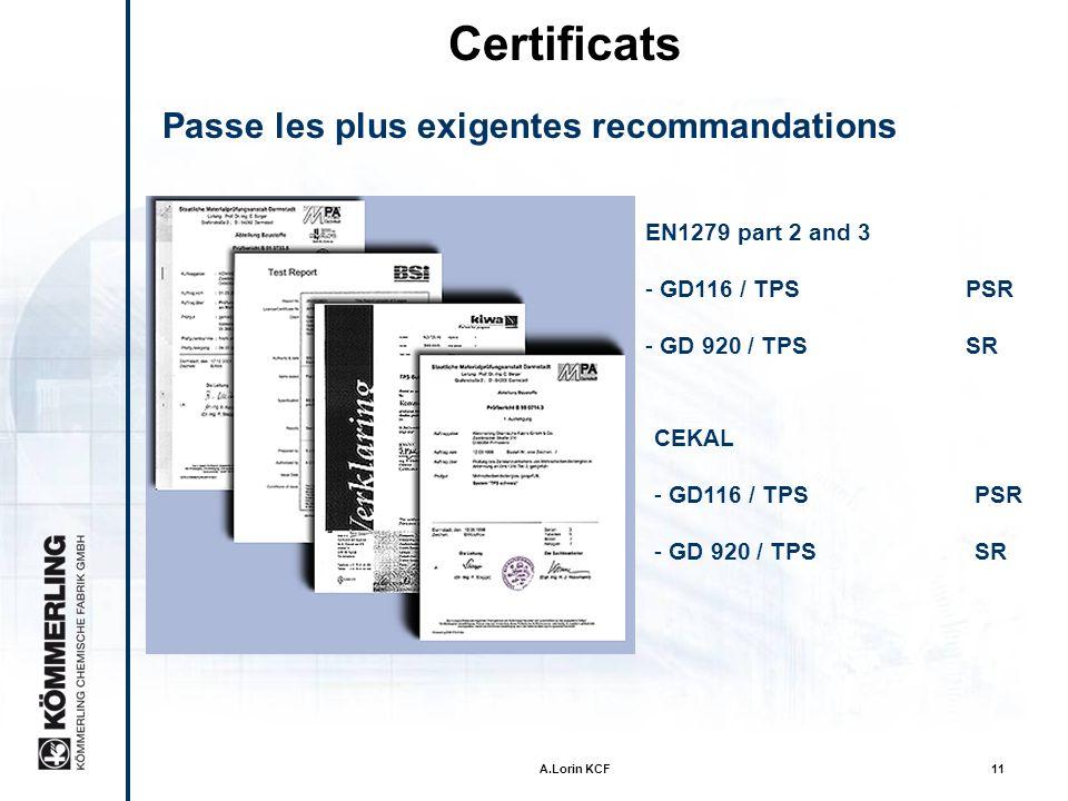Certificats Passe les plus exigentes recommandations