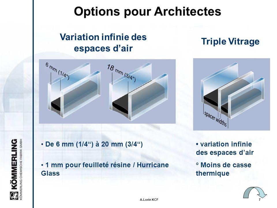 Options pour Architectes Variation infinie des espaces d'air