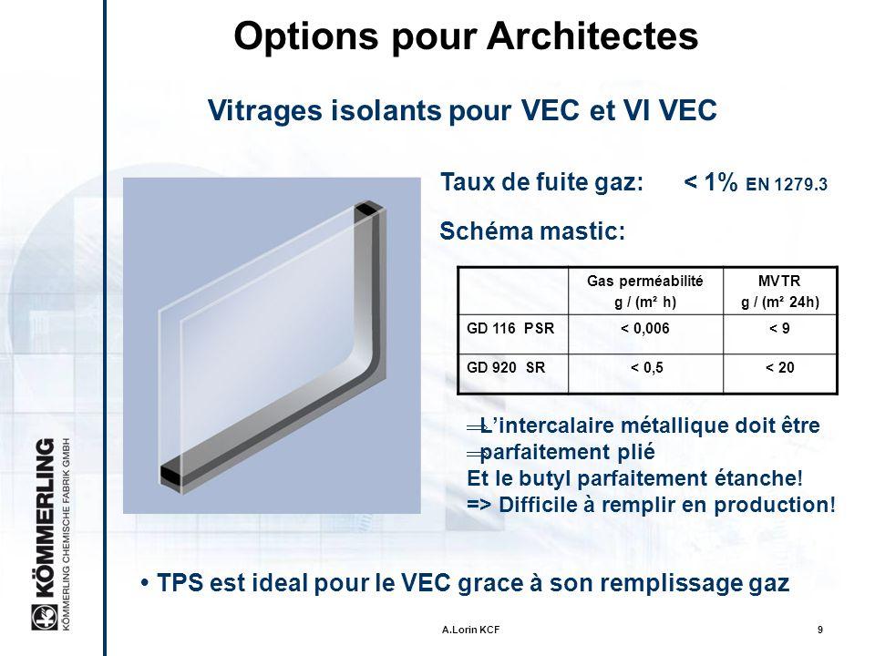 Options pour Architectes Vitrages isolants pour VEC et VI VEC