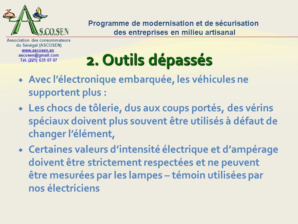 2. Outils dépassésAvec l'électronique embarquée, les véhicules ne supportent plus :