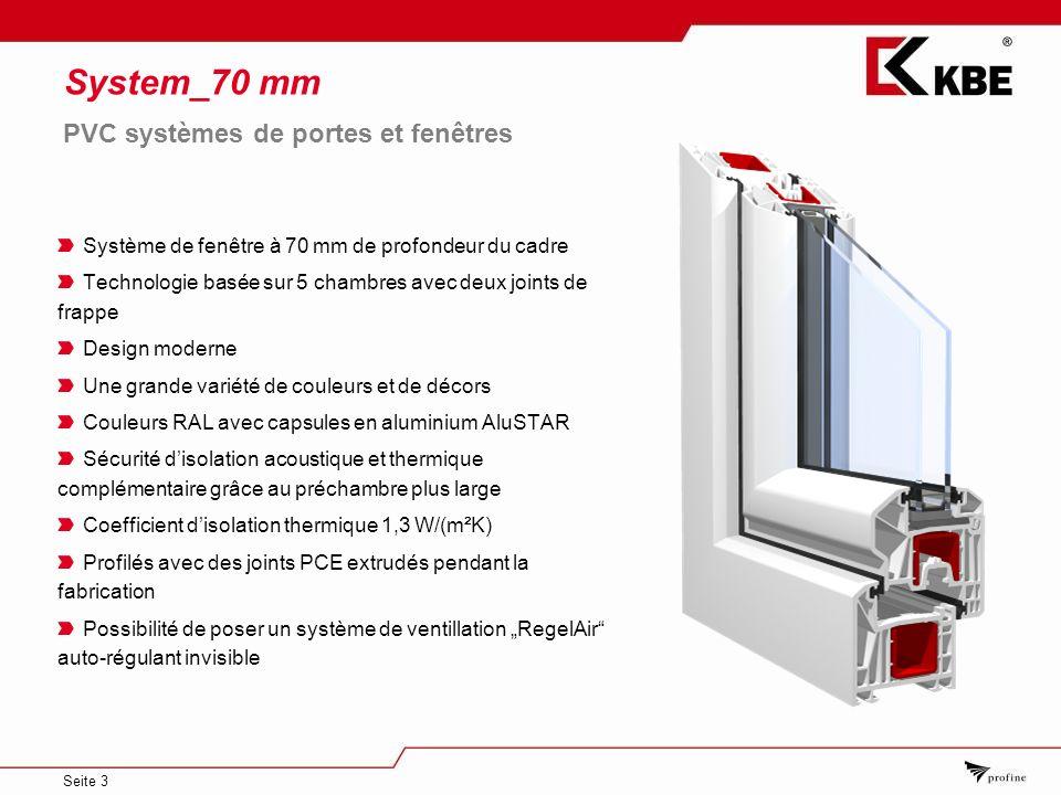 System_70 mm PVC systèmes de portes et fenêtres