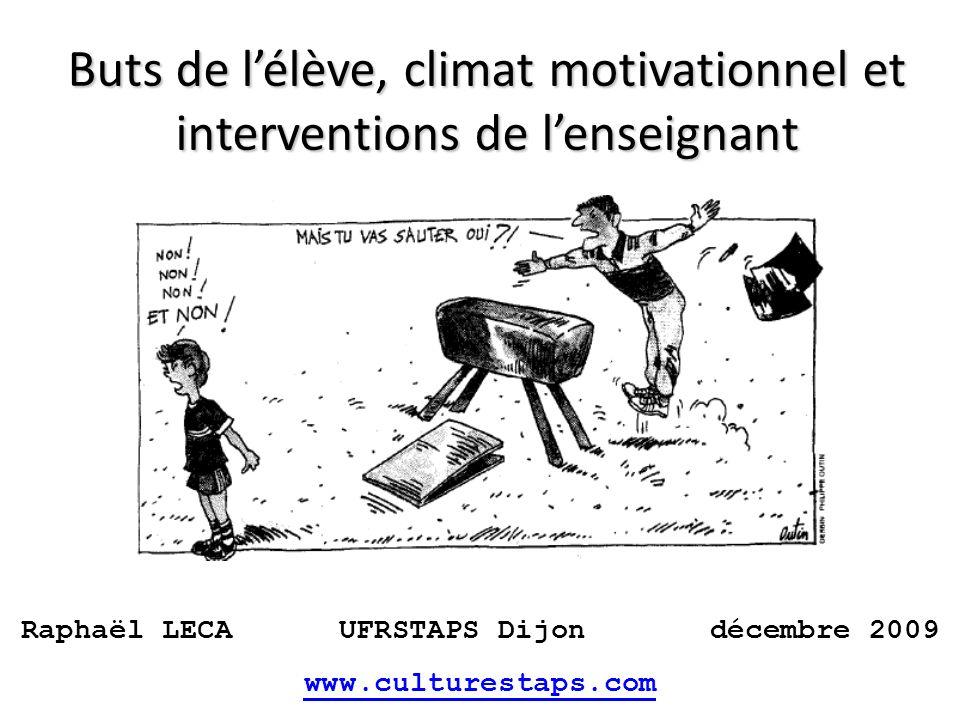 Buts de l'élève, climat motivationnel et interventions de l'enseignant