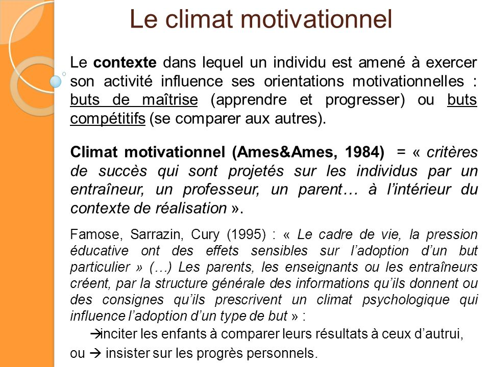 Le climat motivationnel
