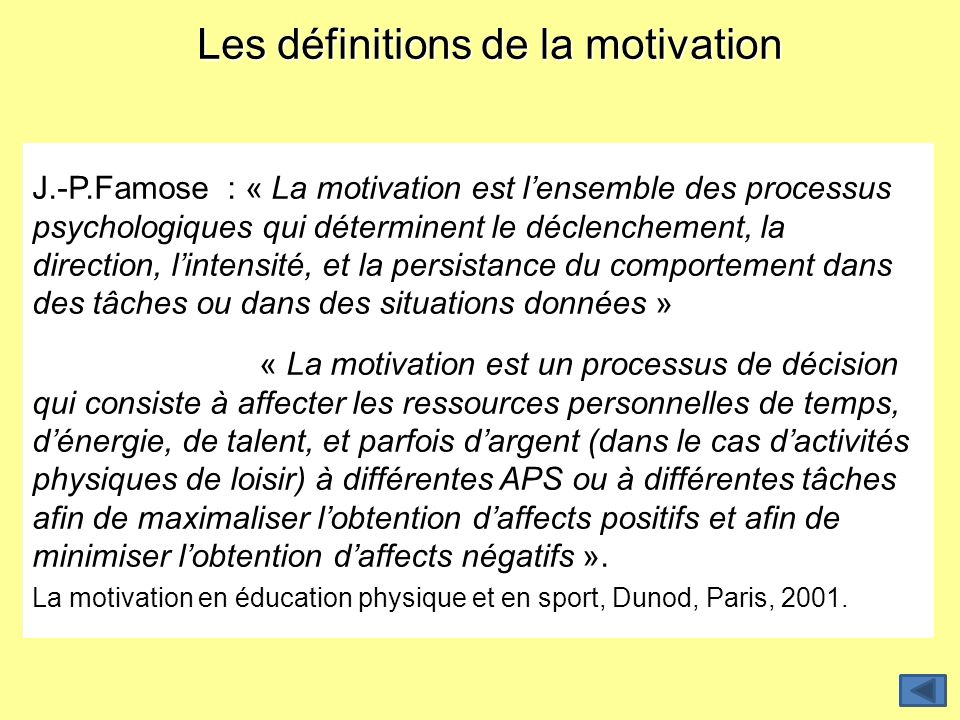 Les définitions de la motivation