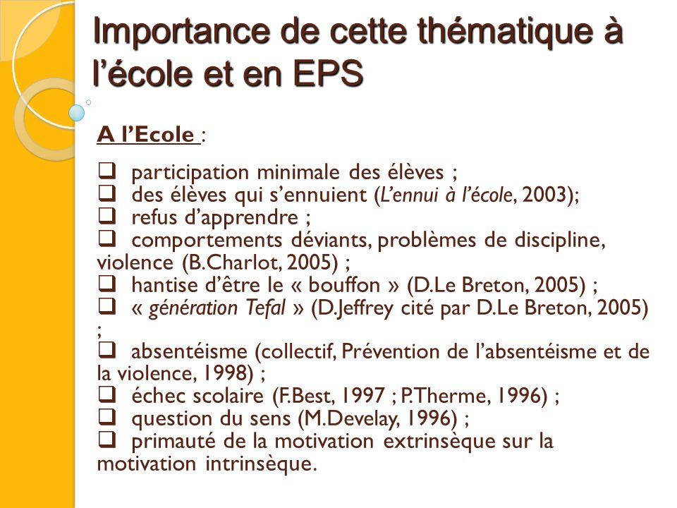 Importance de cette thématique à l'école et en EPS