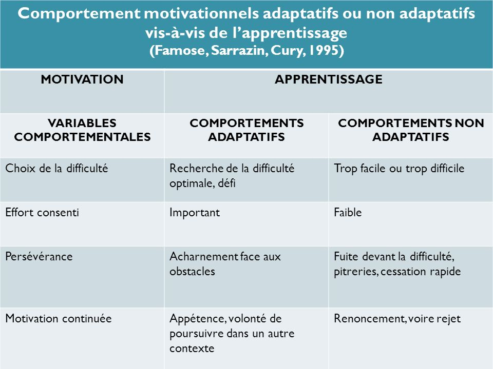 Comportement motivationnels adaptatifs ou non adaptatifs vis-à-vis de l'apprentissage
