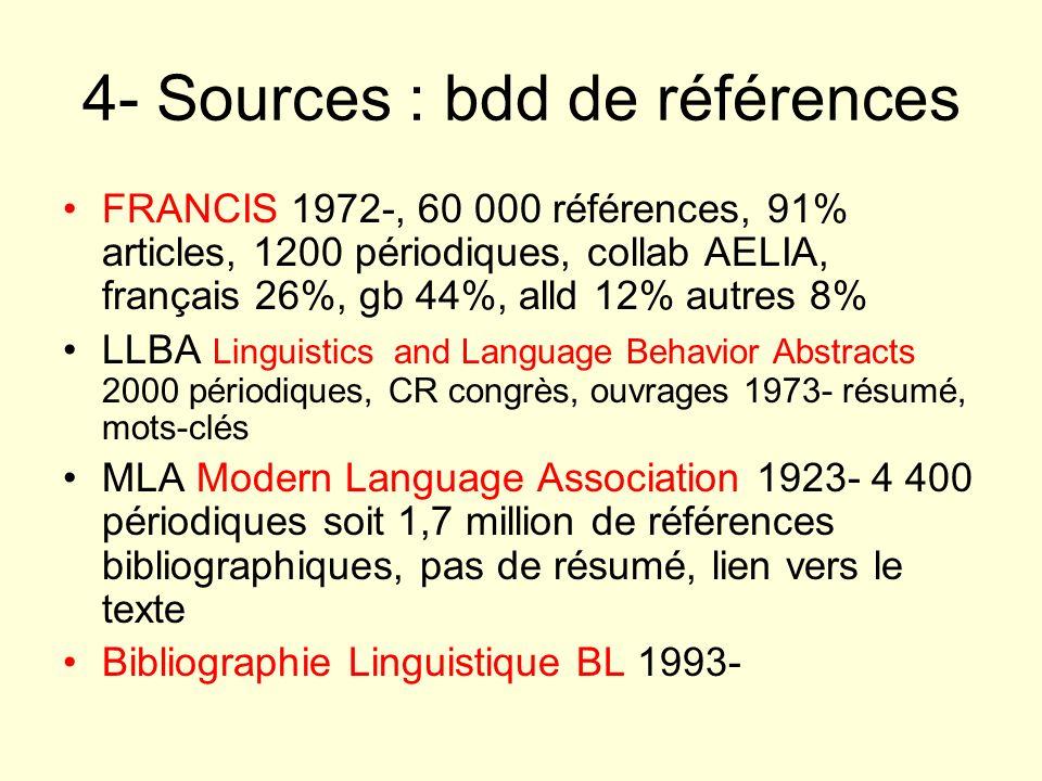 4- Sources : bdd de références