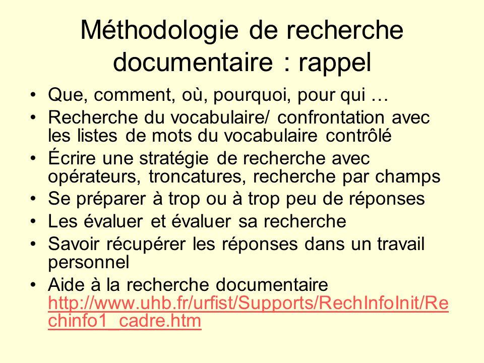 Méthodologie de recherche documentaire : rappel