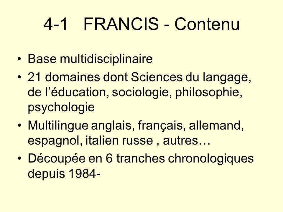 4-1 FRANCIS - Contenu Base multidisciplinaire