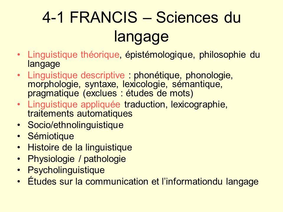 4-1 FRANCIS – Sciences du langage