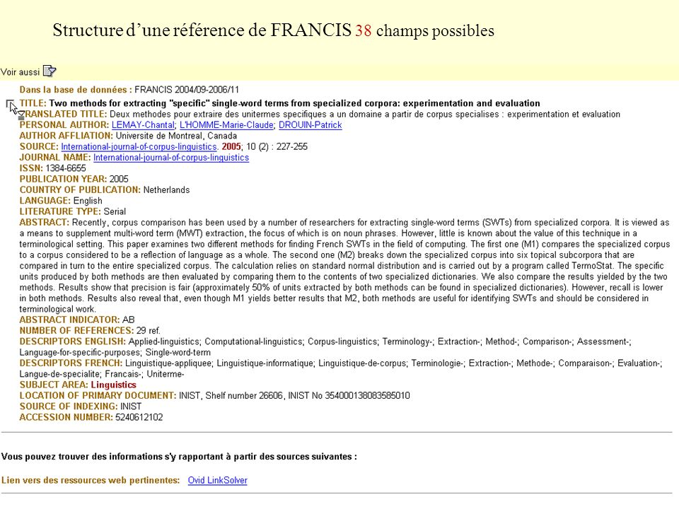 Structure d'une référence de FRANCIS 38 champs possibles