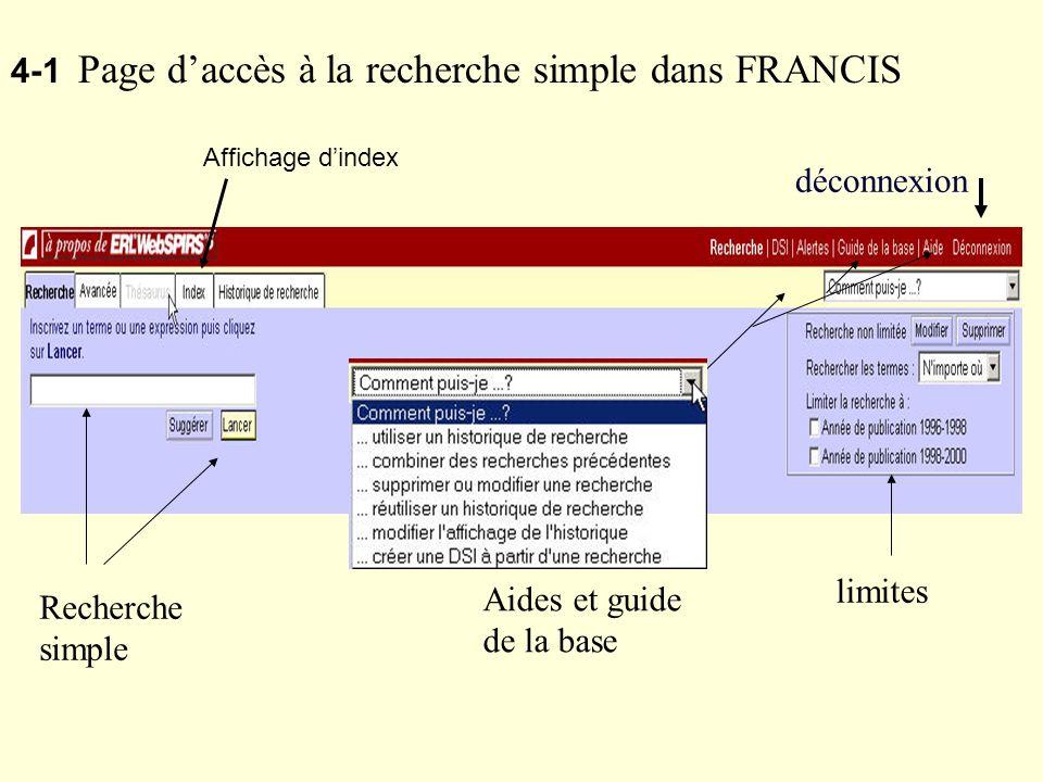 4-1 Page d'accès à la recherche simple dans FRANCIS