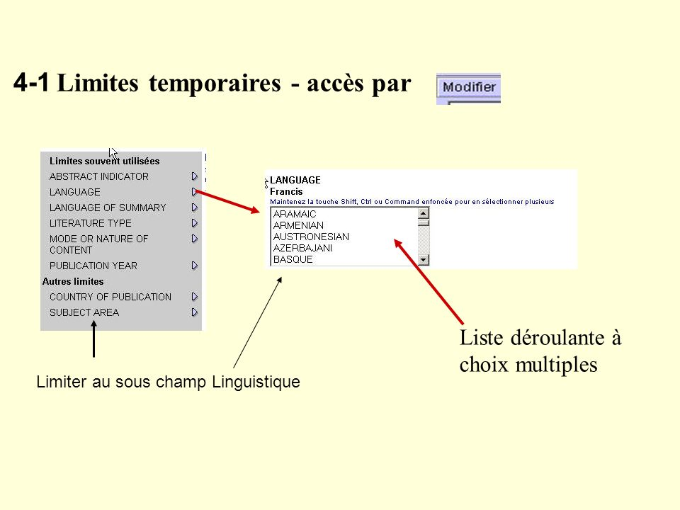 4-1 Limites temporaires - accès par