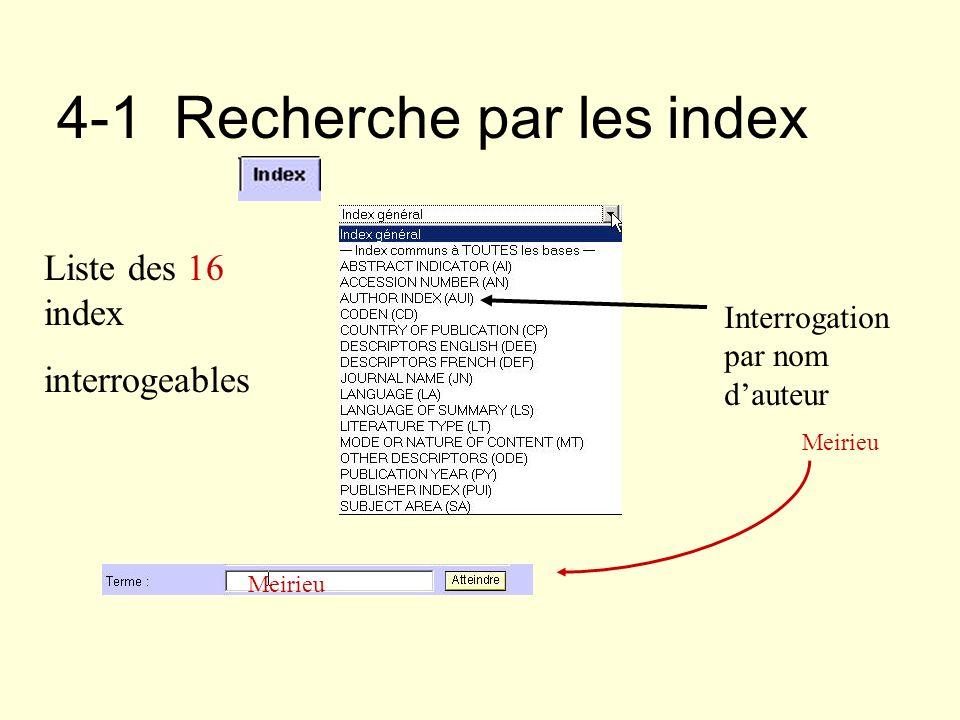 4-1 Recherche par les index