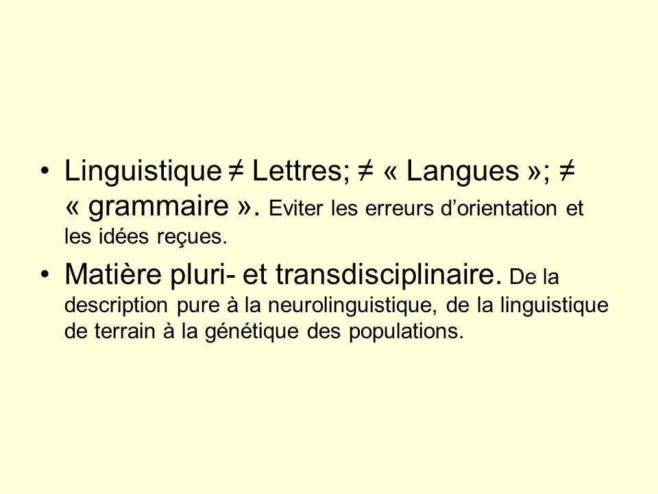 Linguistique ≠ Lettres; ≠ « Langues »; ≠ « grammaire »