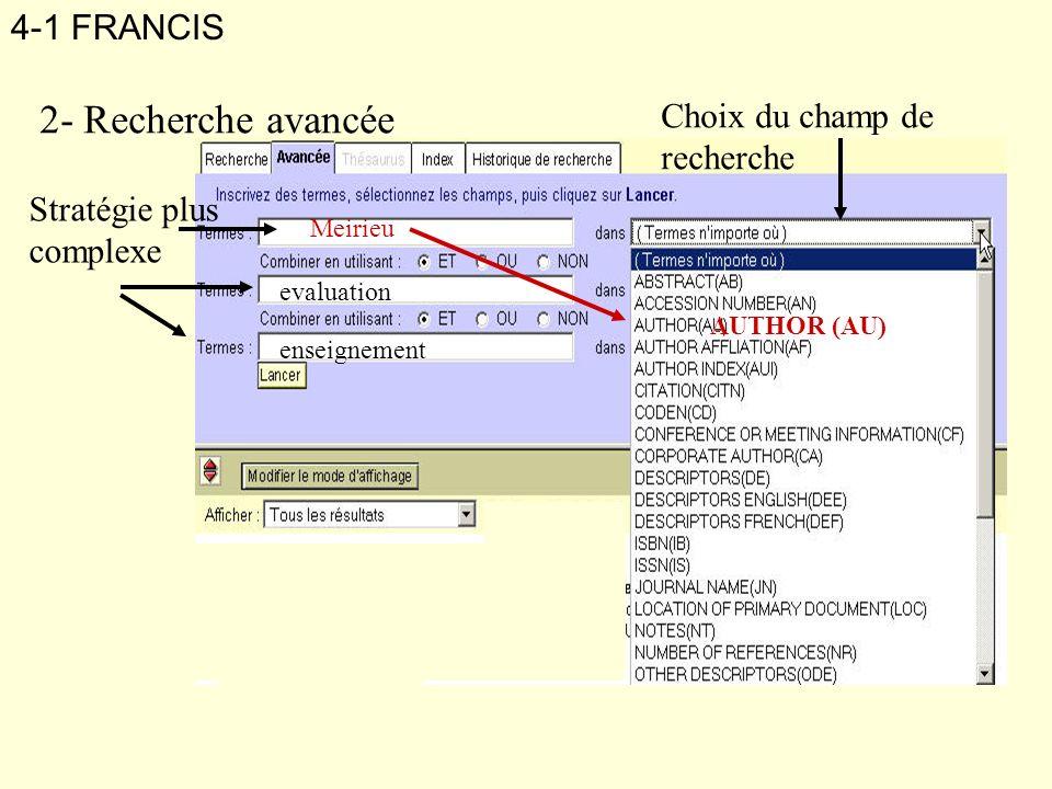 2- Recherche avancée 4-1 FRANCIS Choix du champ de recherche