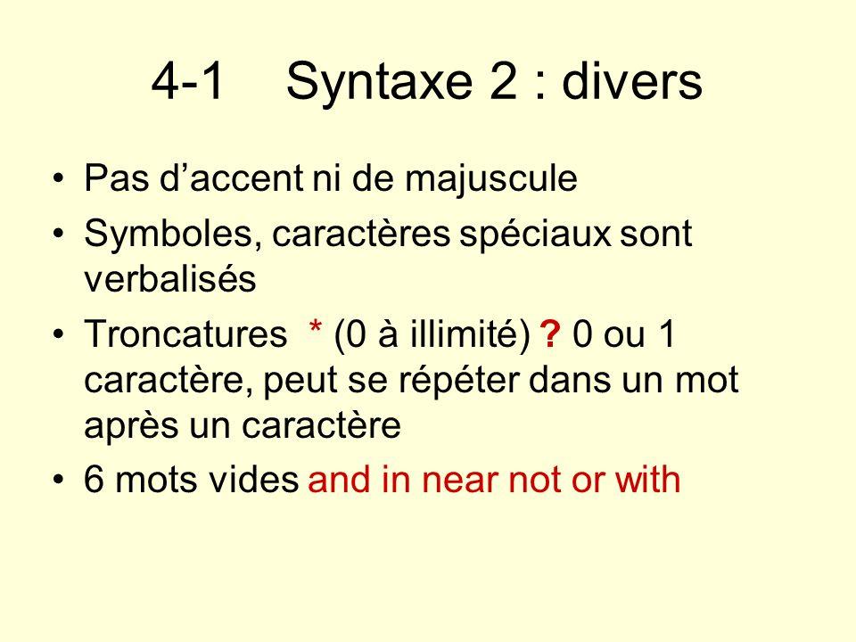 4-1 Syntaxe 2 : divers Pas d'accent ni de majuscule