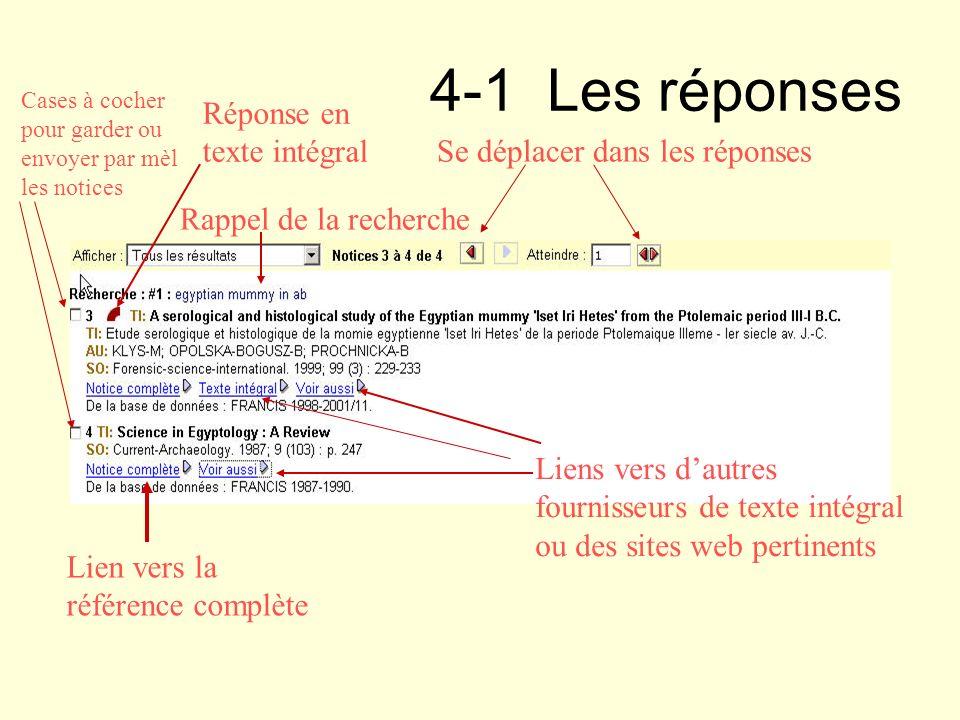 4-1 Les réponses Réponse en texte intégral