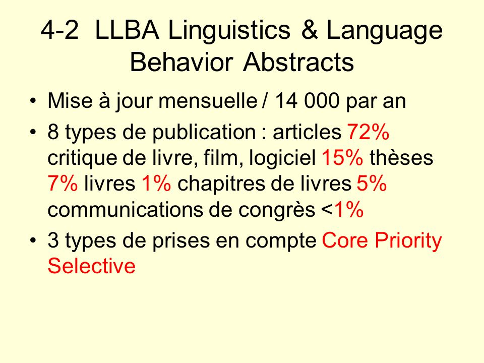 4-2 LLBA Linguistics & Language Behavior Abstracts