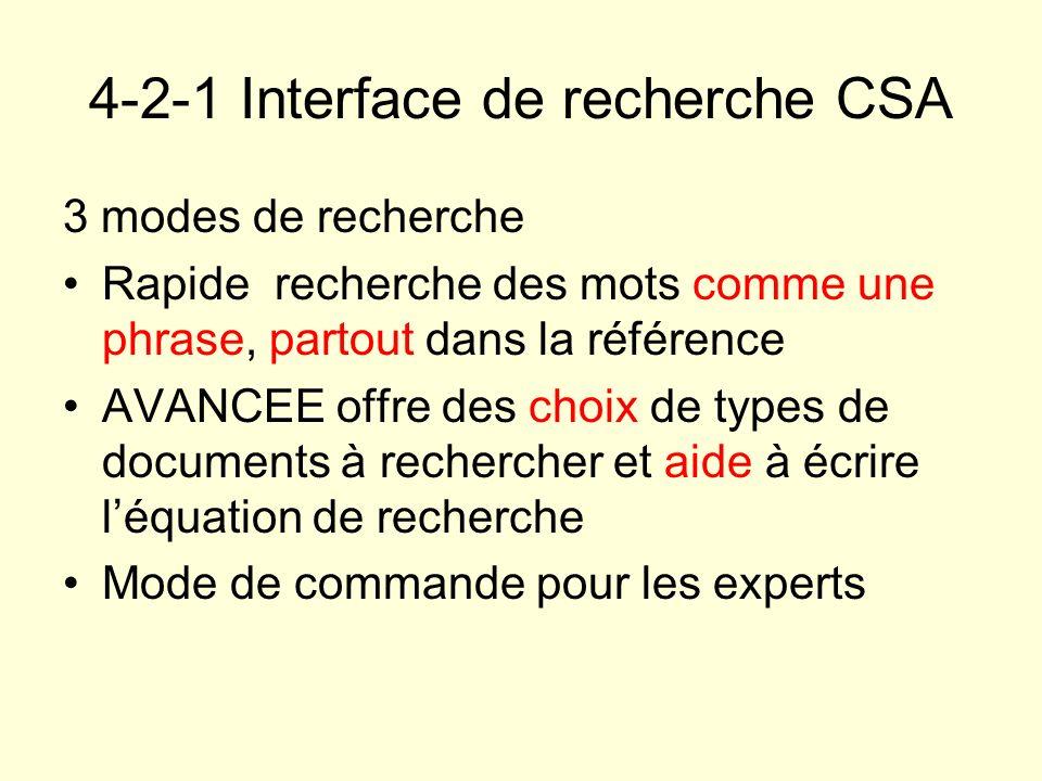 4-2-1 Interface de recherche CSA
