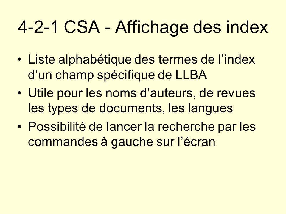 4-2-1 CSA - Affichage des index
