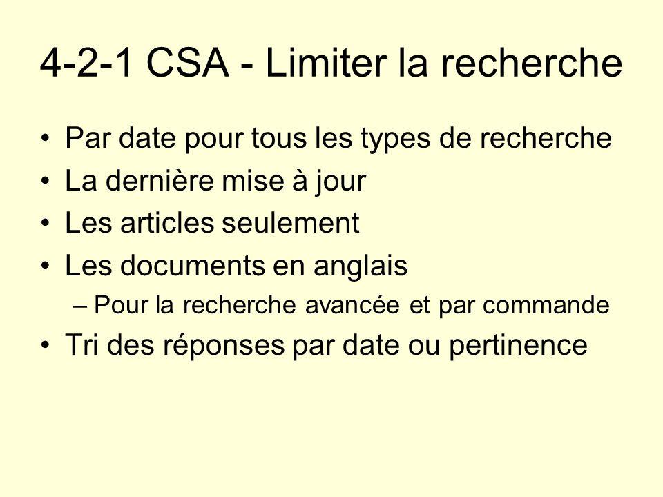 4-2-1 CSA - Limiter la recherche