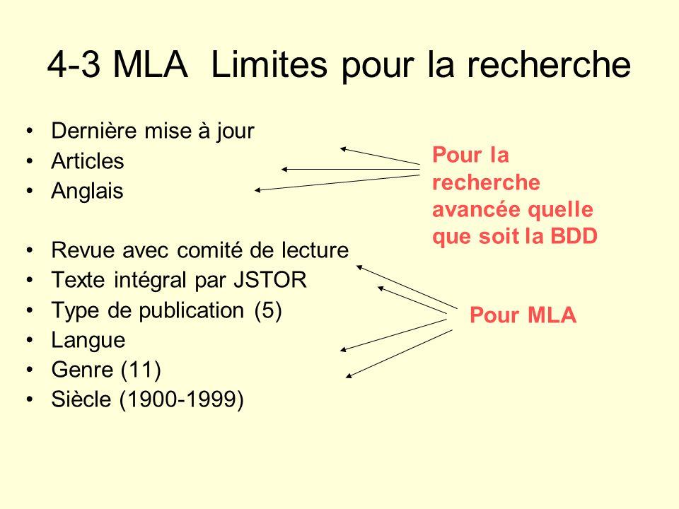 4-3 MLA Limites pour la recherche